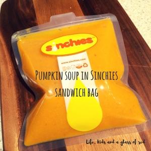 Pumpkin soup in Sinchies sandwich bag